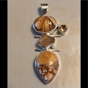 Jewelry - Brecciated Mookaite & Citrine Sterling Pendant